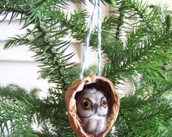 Needle Felted Owl in Walnut Heirloom Ornament-Great Grey Owl