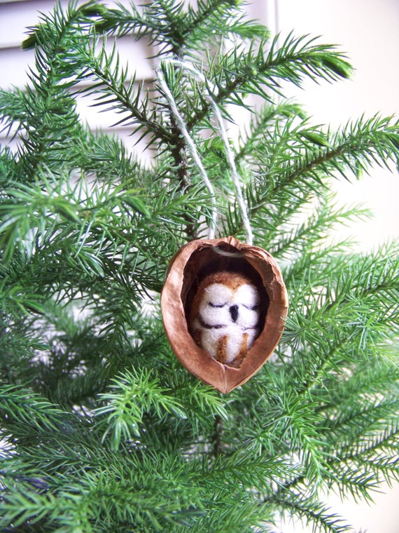 Needle Felted Owl in Walnut Heirloom Christmas Ornament-Saw Whet Owl