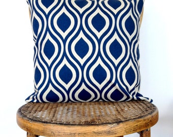 Navy and Natural Cushion Cover