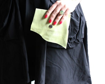 Chartreuse Leather Wallet Business Card Holder Recycled Leather
