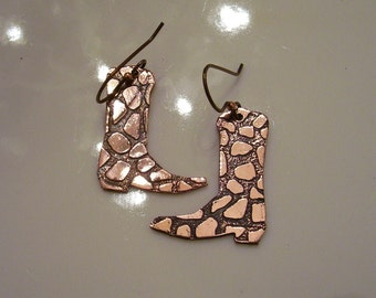 Copper Etched Cowboy Boot Earrings
