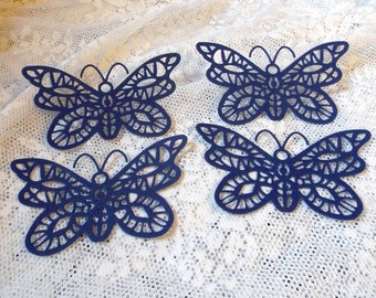 Butterfly Die Cuts Scrapbooking or Papercrafting Embellishments, Navy Blue Diecut, Set of 4, Oriental Butterfly Cheery Lynn Designs