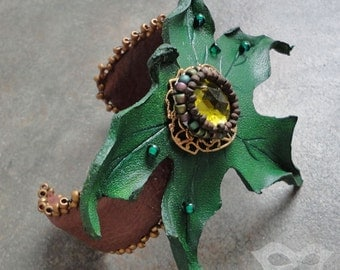 Green Maple Leaf Leather Cuff With Vintage Filigree And Beaded Accents