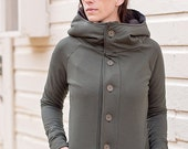 Women's Forest Green Button Up Jacket..Raglan Style Jacket.Unlined Jacket.Hooded Jacket.High Collar.Fall Jacket..Green Jacket..Winter Jacket