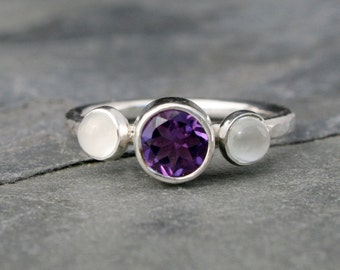 Purple Amethyst & Moonstone Gemstone Ring, Sterling Silver, Faceted Amethyst and Moonstone Cabochon Jewel, Violet Majestic Purple Posey Ring