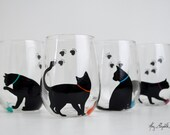 Cat and Yarn Stemless Wine Glasses - Set of 4 Hand Painted Black Cat Glasses, Cats, Cat Glasses, Cat Lover, Black Cats
