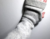 upcycled wool angora arm warmers / fingerless mitts / repurposed wool hand warmers / recycled sweater wrist warmers