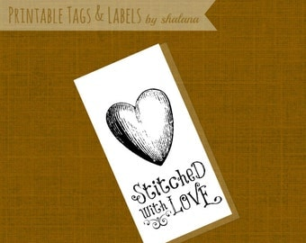 Printable PDF Craft Show Tags - Stitched with Love sewing product labels