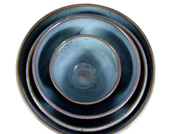 Ceramic Nesting Bowl Set - Pottery nesting Bowls - Inspirational Word Bowls -  Handmade Wheel Thrown Stoneware Pottery- Ready to Ship