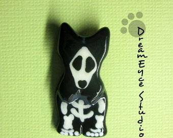Scottish Terrier Skeleton Halloween Pendant Artist Hand-Made OOAK Necklace Scottie Dog Art Jewelry D5
