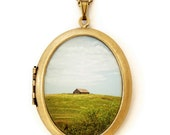 Photo Locket - The Old Barn - Rustic Farmhouse Landscape Photo Locket Necklace