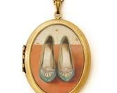 Art Locket - Dandelions - Vintage Shoes Oil Painting Reproduction Art Locket Necklace