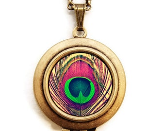 Bohemian - Photo Locket Necklace - Colorful Peacock Feather