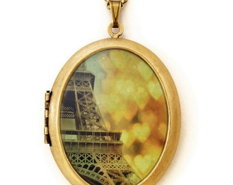 Photo Locket - Paris In The Snow - Romantic Eiffel Tower with Bokeh Hearts Photo Locket Necklace