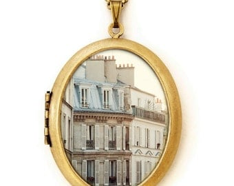 Pale Paris Morning - Fine Art Photo Locket Necklace - Collaboration with IreneSuchocki