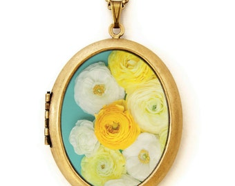 Photo Locket -Altogether - Colorful Yellow and White Flowers Photo Locket Necklace
