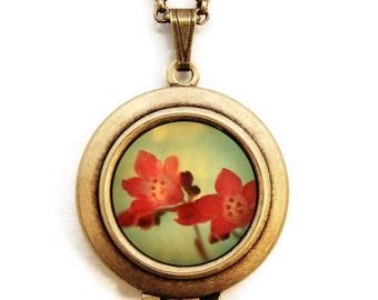 Photo Locket - Little Wonders - Red Flowers Photo Locket Necklace