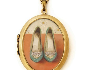 Art Locket - Dandelions - Vintage Shoes Oil Painting Reproduction Art Locket Necklace