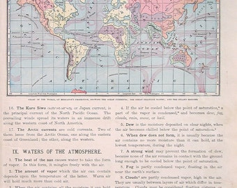 1885 Antique Map - Chart of the World, Mercator's Projection - Geography Atlas Map - Antique Book Page - 12 x 9