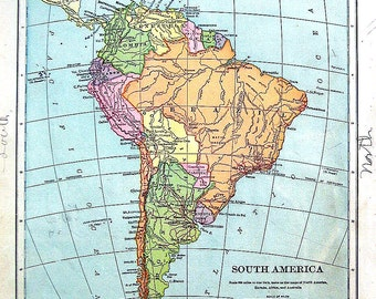 Map of South America - 1898 Antique Map - World Atlas Book Page - 12 x 10