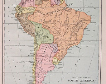 1889 Political Map of South America - Antique World Atlas Map - Over 100 Years Old - For Framing - 12 x 9