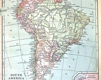 1902 Antique Map - Map of South America - Continent Map - Antique History Book Page - 12 x 10