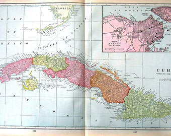 Map of Cuba with the City of Havana -  Large 1901 Antique Map - from Cram's World Atlas - 22 x 14