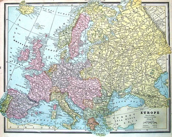 Map of Europe - Continent Map - 1883 Antique Map - Crams'  World Atlas Book Page - 14 x 11