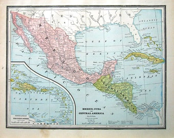 Map of Mexico, Cuba and Central America, Map of Central America - 1883 Antique Map - Crams'  World Atlas Book Page - 14 x 11