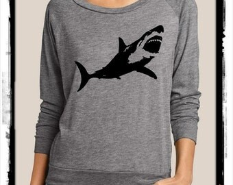 SHARK Heathered Slouchy Pullover long sleeve Girls Ladies shirt screenprint Alternative Apparel