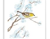 "Warbler in Flowering Tree 8"" x 10"" Art Reproduction"
