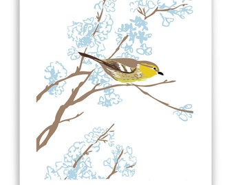 "ART5: Warbler in Flowering Tree 8"" x 10"" Art Reproduction"