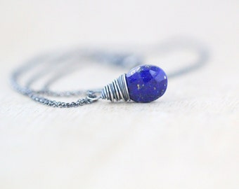 Lapis Lazuli Necklace In Sterling Silver ,  Antiqued Oxidized , Blue Gemstone , Gifts Under 50 , Lapis Pendant