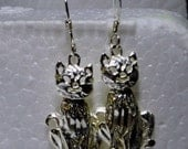 Sterling Silver Cat Earrings, Articulated Cats on French Wires, Kitten Earrings, 925 Silver Earrings