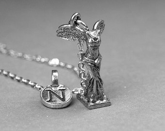 Nike Goddess Necklace, Goddess Victory charm, Goddess Necklace, Personalized Jewelry, initial necklace, monogram, antiqued, silver pewter