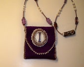 Leather Medicine Bag Necklace Purple & White Beaded Leather Necklace Pouch