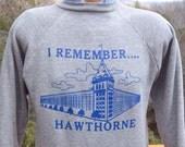 vintage 70s sweatshirt raglan HAWTHORNE school rayon heathered gray Medium Large 80s healthknit