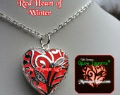 Red Glowing Heart of WInter Necklace