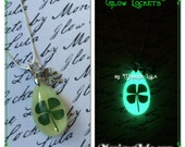 Lucky Clover Glowing Shamrock Teardrop Necklace with Free Charm & UV Light Charger