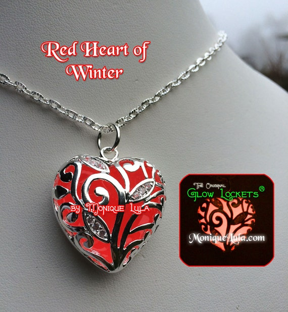 Red Glowing Heart of Winter Magic Necklace Pendant Cherry Rouge Filigree Pendant Crystals Love Steampunk Fairy Mermaid Fairytale Jewelry