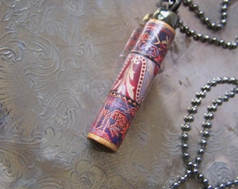 SALE....Wooden Necklace Pendant ~ Upcycled PIANO ~ Pink Red & Blue ~ Floral Pattern