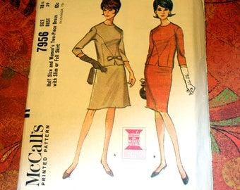 1960's Vintage McCall's 7956 Pattern, Two Piece Dress (Top & Skirt) Half Size 18, Bust 39