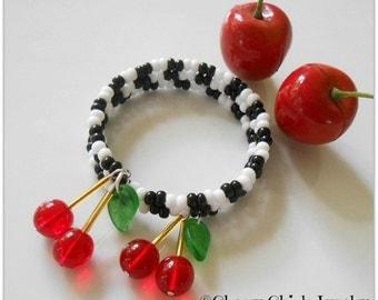 Cherry Bracelet - Memory Wire Bracelet with Checks - Cherry Jewelry - Black & White Checkered - Cherry Chick Jewelry - Rockabilly Bracelet