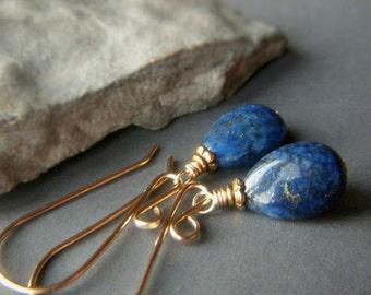 Lapis Lazuli Earrings, Natural Stone, Lapis Gold Filled Earrings, Dark Blue Genuine Gemstone Minimalist Dangle Teardrop