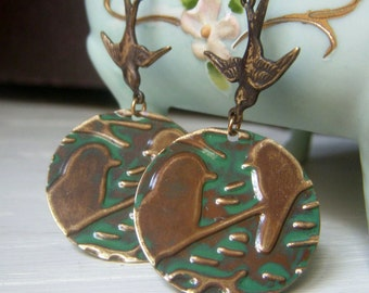 Embossed Bird Earrings, Brass Disc Earrings, Botanical Earrings, Verdigris Patina, Bohemian Jewelry, Hand Embossed, Swallow Bird Earrings