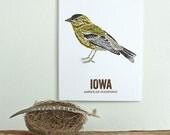 Iowa State Bird, Nature art, Outdoor art, Vintage Map art, Art print, Wall decor, Rustic Nursery, Map prints - AMERICAN GOLDFINCH