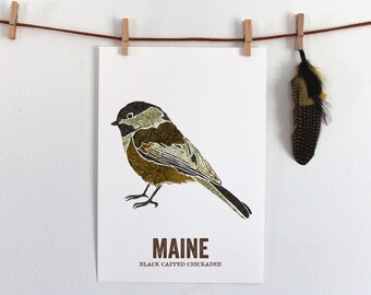 Nature inspired illustrations for outdoor by woodenpencilco maine state bird nature art outdoor art vintage map art art print sciox Image collections