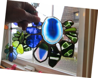 Orli - Gorgeous Stained and Fused Glass Flower Suncatcher with Agate Centerpiece