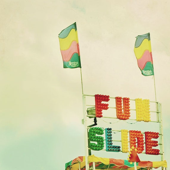 Carnival Photograph, Fun Slide, Retro, Nursery Decor, Carnival Art, Surreal Photography, Vintage Colors, Modern Art, Sign, Minimal, Yellow