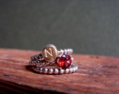 Gold Nugget Custom Initial Ring Garnet Gemstone  Gold Plated Stacking Rings Red Jewelry January Birthstone